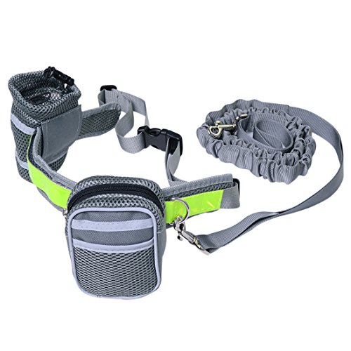 Xianheng Dog Leash Hands Free Leads Adjustable Waist Belt with Reflective Pouch for Running Walking