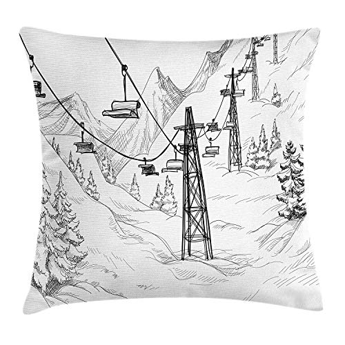 JIEKEIO Winter Throw Pillow Cushion Cover, Ski Lift with Fir Trees Monochrome Seasonal Holiday Destination Themed Sketch, Decorative Square Accent Pillow Case, 18 X 18 Inches, Black and White
