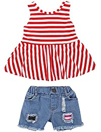 d090a1626ba3 Mecohe 2Pc Bambini Piccoli Ragazze Camicia a Righe Rosso+Pantaloncini di  Jeans - Estate Abiti