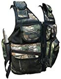 CKSN Metal Detecting Vest - Fully Adjustable Sizing - Integral Backpack with Multiple Pockets and Pouches 7 Colours. (Black/Leaf Camo)