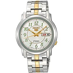Seiko snkl 95-5 Gent's Automatic Watch Analogue Watch-White Face - 2 Tone steel Bracelet