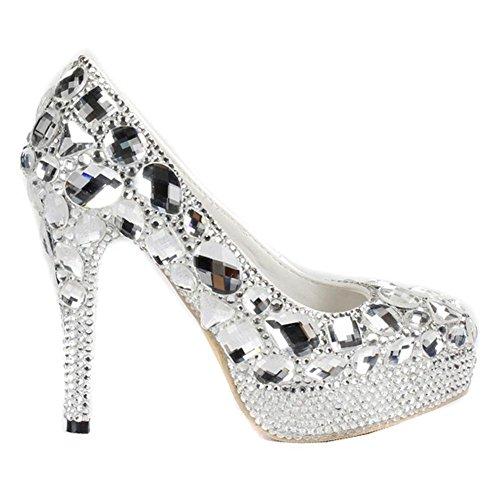 donne scarpe di cristallo diamanti sottili alti talloni sposa damigelle d'onore cuoio handmade nightclub sera nozze pompini sandali . silver . 37