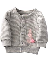 BOBORA Bebe Filles Enfants Manteau a Manches Longues en Coton avec Broderie Rabbit