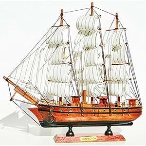 Maquette bateau à voile voilier goélette en bois 31cm style navire marchand antique sur son socle.