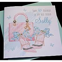 Handmade Personalised Handbag & Shoes Birthday Card/sister friend daughter granddaughter goddaughter any wording