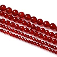 Natural Round Agate Stone Gemstone Loose Beads for DIY Jewelry Making (10mm, red)