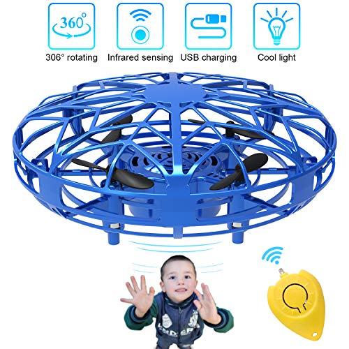Bdwing Mini Drones para niños y Adultos, RC UFO Helicóptero con Luces LED, Accionado a Mano Juguete Bola Volador Interactivo de inducción infrarrojo, Regalos para niños y niñas (Azul)