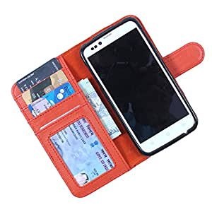 Dooda Genuine Leather Wallet Flip Case For Samsung Galaxy Golden (ORANGE)