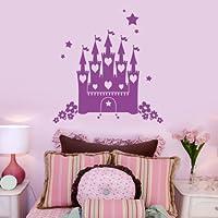 """Fairytale Princess-Letto a castello, motivo floreale, da bambina, motivo: stelle, da parete, in vinile, motivo """"Art-Adesivi per bambini, per camere da letto, bagno, cucina, salotto, facile da applicare, con applicatore, facili da rimuovere, scegliere La taglia & colore secondo la selezione scatole, by Rubybloom Designs, Blu pastello, Small 56cm x 58cm"""