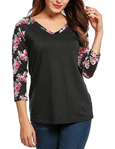 ZEARO Damen Pullover Bluse Tops T-Shirt Sweatshirt Hemd Printing Langarm Rundhals Frühling Dunkelgrau