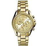 XLORDX Classic Datum Strass Damenuhr Gold Edelstahl Chronograph Optik Silber