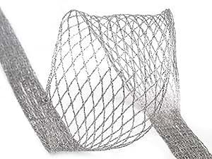 10m deko netzband mit lurex und draht silber auf rolle geschenkband dekoband. Black Bedroom Furniture Sets. Home Design Ideas