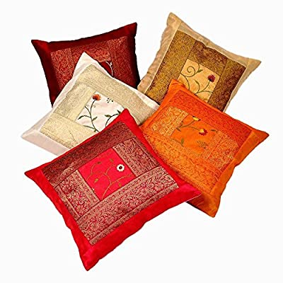Indian Ethnic Hand Embroidery Decorative Silk Pillow Cushion Cover Set of 5 Pcs Size 16 X 16 Inches - inexpensive UK light shop.