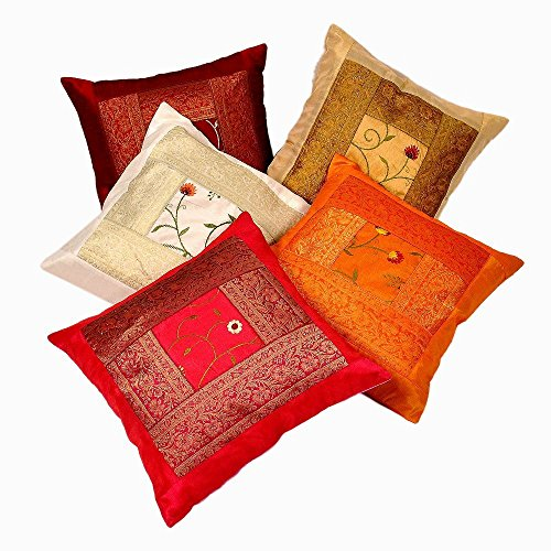 Rastogi Handicrafts Zari Hand Embroidery Work Silk 5 Piece Cushion...