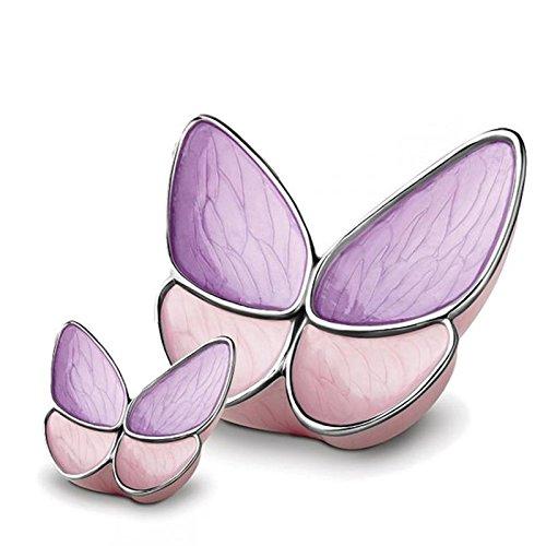 Asche Urne–geeignet für ein Symbolischer Menge Esche–Schmetterling/rosa und lila Flügel (Rosa Schmetterlings Flügel Für Erwachsene)