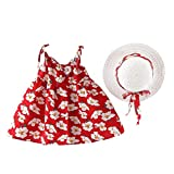 OIKAY Kinder Mädchen Kleid Kleinkind Baby Kinder Mädchen Ärmellos Floral Princess Dresses Bow Hat Outfits