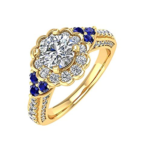 Diamond Delight Or 750 or jaune 750/1000 (18 cts) Poire Rond GH Bleu Diamant blanc Bleu saphir