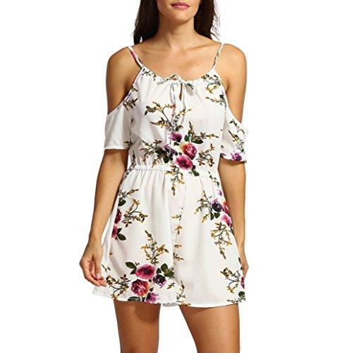 Btruely Jumpsuit Damen Kurz Sommer Elegant Blumen Floral Overall Trägerlos Klied Playsuit Chiffon Overall Romper Kurz Strandkleid … -