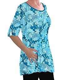 EyeCatch - Eliana Ladies Print Blouse Scoop Neck Tunic Womens Swing Flared T-Shirt Top