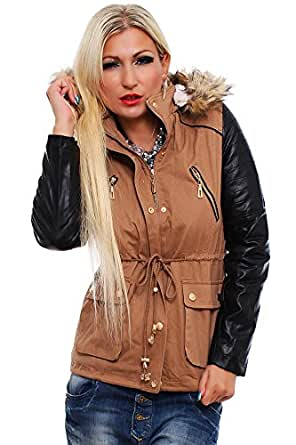 10204 Fashion4Young Damen Taillierter Kurzmantel Long Jacke Mantel verfügbar in 4 Größen 2 Farben (L = 40, Braun)