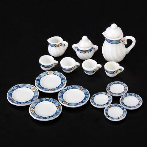 SODIAL(R) Set of 15pcs 1/12 Dollhouse Miniature Dining Ware Porcelain Tea Set ---White + Blue Puzzle