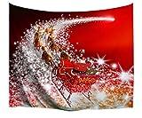 A.Monamour Wanddekor Wohnaccessoires Deko Wandteppiche Rote Hintergründe Santa Claus Reiten Der Schlitten Rentier Ziehen Der Schlitten Auf Starry Weg Bild Druck Stoff Tapisserie Wand Hängende Dekorationen 153X130cm / 60