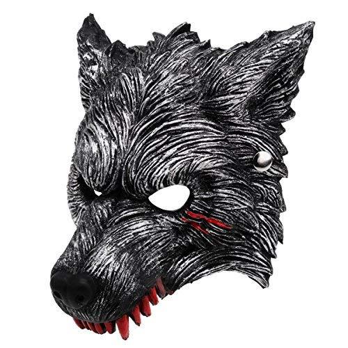 Kostüm Sie Ein Machen Wolf - Unomor Halloween Werewolf Maske mit Blutflecken, Dunkelgraues, lebendiges Werewolf Design
