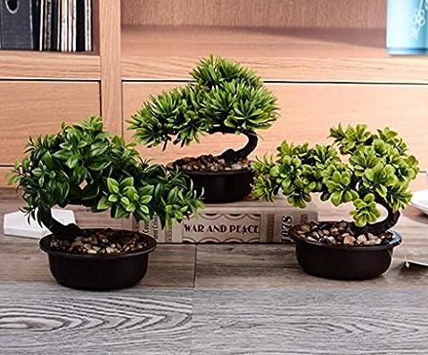 KQS-XYT Simulation Bonsai 21 * 10 * 14cm Mini kleine Begrüßung Kiefer Topf Topf Töpfe gesetzt gefälschte Ornamente Topfpflanzen Büro Dekorationen