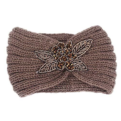 Applique Perlen (Lifet Verdicken Häkeln Stricken Stirnband Winter Böhmische Glitter Perlen Pailletten Floral Applique Kopfband Haarband (Kaffee))