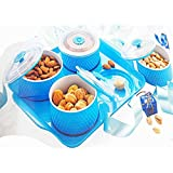 PP Waffie Dry Fruit And Snacks Serving Tray With 4 Air Seal Knob Containers Multi Purpose Container To Store Dry Fruits, Namkeen, Biscuits, Choclates & Snacks Colours May Vary)