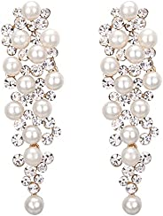 BriLove Women's Wedding Bridal Crystal Simulated Pearl Multi Beaded Cluster Chandelier Dangle Earr