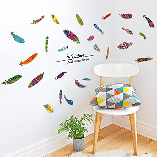 brooke-celine-home-dekoration-wand-aufkleber-colorful-art-federn-home-decor-abnehmbare-wallpapers