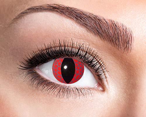 Zoelibat Farbige Kontaktlinsen für 12 Monate, Roter Drachen, 2 Stück, BC 8.6 mm / DIA 14.5 mm, Jahreslinsen in Markenqualität für Halloween, Fasching, Karneval, rot/schwarz