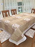 #8: Clasiko 6 Seater PVC Table Cover; Beige & White Checks With Flowers; Anti Slip; 60x90 Inches; 6 Seater
