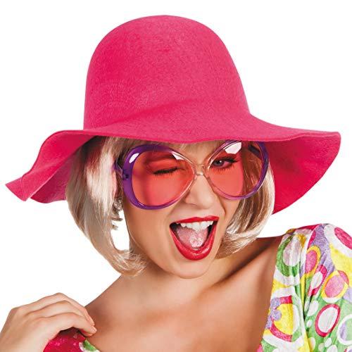 NET TOYS Sombrero Retro de ala Ancha años 70 | Rosa Fucsia | Extraordinario Sombrero Hippie para Dama Sombrero de Fieltro | Ideal para Fiestas temáticas y Fiestas Retro