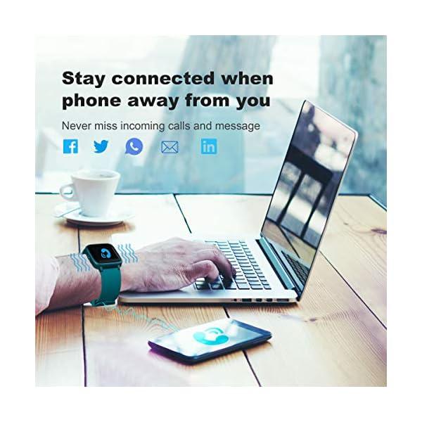 Arbily Reloj Inteligente Pantalla Táctil Completa Pulsera de Actividad Smartwatch Mujer Hombre Niño Reloj Deportivo a Prueba de Nadar Impermeable Podómetro Monitor de Sueño para iOS Android (Azul) 6