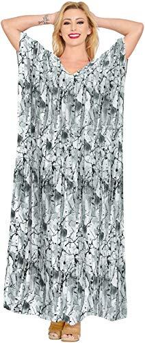 LA LEELA Frauen Damen Kaftan Tunika Gedruckt Kimono freie Größe Lange Maxi Party Kleid für Loungewear Urlaub Nachtwäsche Strand jeden Tag Kleider Schwarz_Y187 -