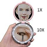 Beleuchteter Kosmetikspiegel Vergrößerung, 1x / 10x Led schminkspiegel beleuchtet, Fushop vergrößerungsspiegel mit batterie licht führte Schminkspiegel klappspiegel klein spiegel mit strass(Rosa)