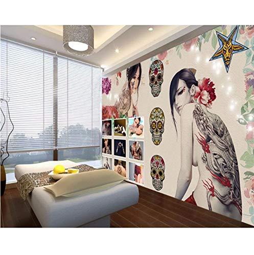 Luzhenyi Tapeten Wohnkultur Vintage Retro Beauty Tattoo Studio Dekoration Hd Stereo 3D Tapete Für Wohnzimmer-250(H)*350(W) Cm