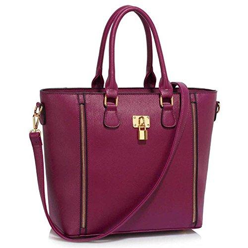 Leesun London Ladies Borse In Similpelle Grandi Tre Scomparti Borse Donna A Tracolla Borse A Tracolla H - Bourgogne