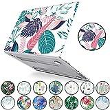 """PapyHall Tropical Palm Leaves Impression d'un étui en plastique dur pour MacBook Pro 15 """"avec barre tactile et écran tactile 2018/2017/2016 version A1990/A1707 Feuilles blanches..."""