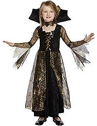 """Spinnenkönigin Kostüm für Kinder """"Spinderella"""" - Vampir Kostüm Mädchen Halloween gold-schwarz - Vampirin"""