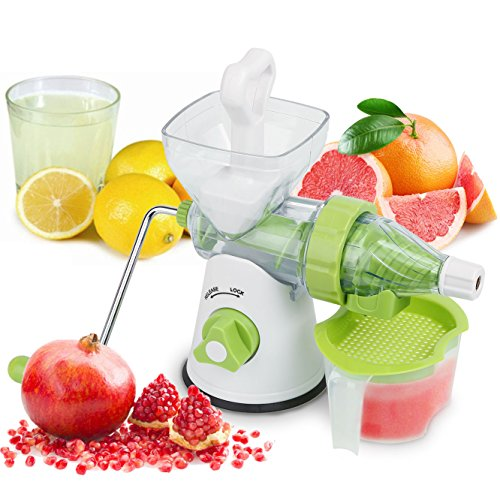 Manual Juicer, Multi Functional Slow Masticating Single Auger Assembled Manual Fruit Juicer Ideal For All Fruit Vegetable And Wheatgrass with Cup Green