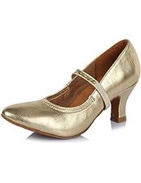 HIPPOSEUS Zapatos de la danza de salón de baile/Zapatos de baile con Diamante de imitación/Zapatos latinos de el cuero mujeres,Modelo ESAF305