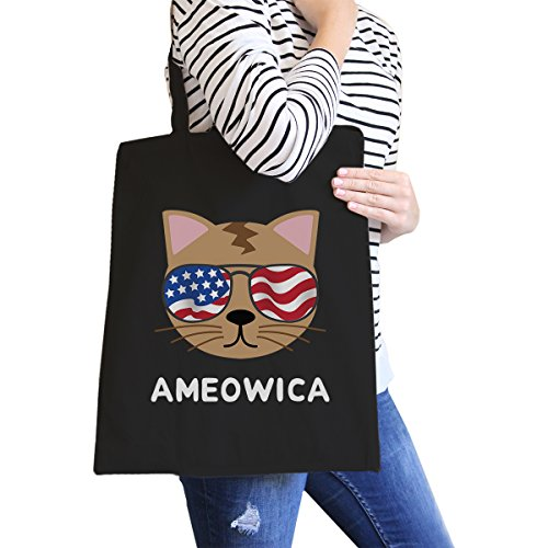 365 Printing inc , Borsa da spiaggia  Donna Ameowica Natural Canvas Bags Misura unica Ameowica Black Canvas Bags