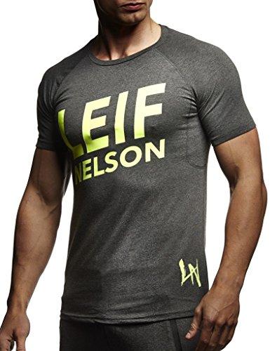 LEIF NELSON Gym Herren Fitness T-Shirt Slim Fit   Moderner Männer Bodybuilder Trainingsshirt Kurzarm Top   Herren Sport T-Shirt - Bekleidung für Bodybuilding Training   LN8043 Anthrazit-Gelb Medium - Seamless Ärmelloses T-shirt