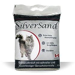 Silversand klumpendes Katzenstreu Babypuderduft 15kg