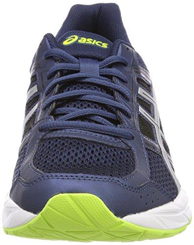 Asics Gel-Contend 4, Chaussures de Running Homme Bleu (Bleu foncé/Silver/Safety Jaune)