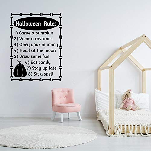tzxdbh 56 cm * 73,6 cm Halloween Regeln Worte Buchstaben Herbst Halloween Decor Art PVC Wandaufkleber (Mit Buchstaben 5 Halloween-wörter)