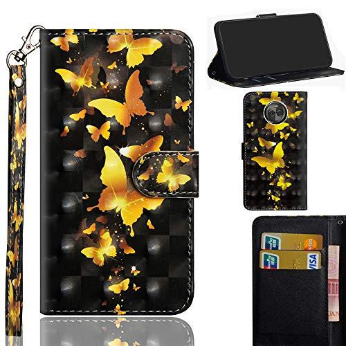 Ooboom Motorola Moto E5/G6 Play Hülle 3D Flip PU Leder Schutzhülle Handy Tasche Case Cover Ständer mit Trageschlaufe Magnetverschluss für Motorola Moto E5/G6 Play - Gold Schmetterling